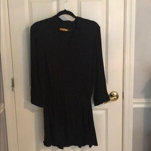 Alice + Olivia Black Tuxedo Dress with buttons